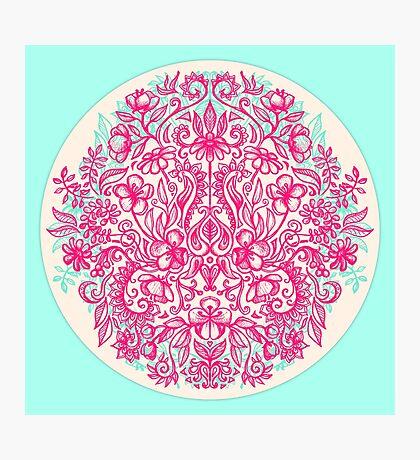 Spring Arrangement - floral doodle in pink & mint Photographic Print