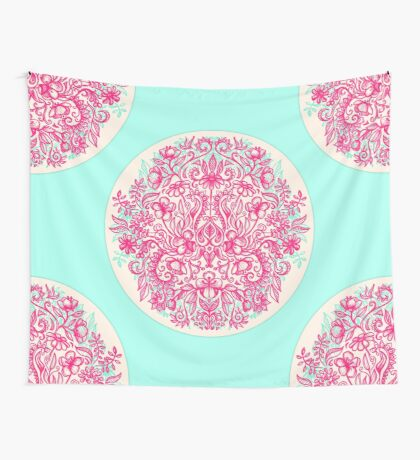 Spring Arrangement - floral doodle in pink & mint Wall Tapestry