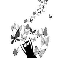 Newspaper Butterflies Photographic Print