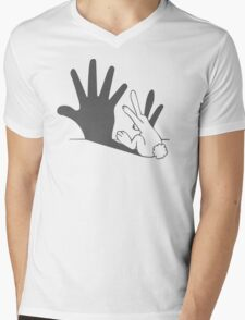rabbit hand shadow funny Mens V-Neck T-Shirt