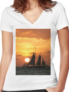 Sunset Sail in Key West II Women's Fitted V-Neck T-Shirt