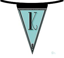 Manhattan 1920s Deco Blues Banner… Monogram letter initial K by CecelyBloom