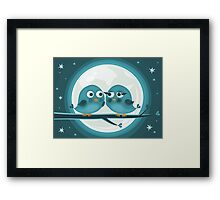 birds against the moon Framed Print