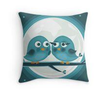 birds against the moon Throw Pillow