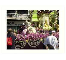 Flower Float in Festival at Chiang Mai. Art Print