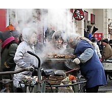 Street traders, Harbin, China Photographic Print