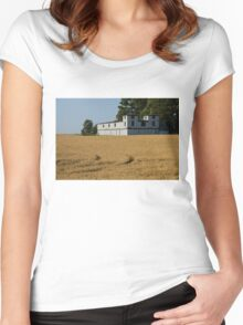The Ancient Double Tower Barn in Golden Wheat Women's Fitted Scoop T-Shirt