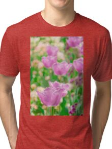 tulips in a garden Tri-blend T-Shirt