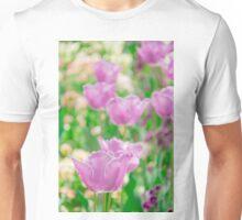 tulips in a garden Unisex T-Shirt