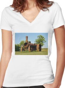 Antique Tractor - A Rusty Relic on a Farm Women's Fitted V-Neck T-Shirt