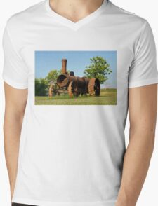 Antique Tractor - A Rusty Relic on a Farm Mens V-Neck T-Shirt