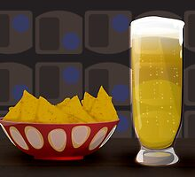 beer and tortilla chips by anjou