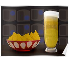 beer and tortilla chips Poster