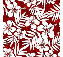 Tropical flowers red and white pattern Photographic Print