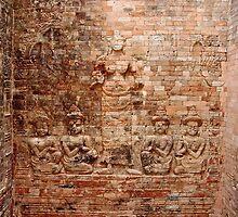 Reliefs at Pasat Kravan - Angkor, Cambodia. by Tiffany Lenoir