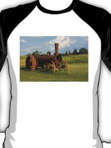 Antique And Rusty - a Vintage Iron Tractor on a Farm T-Shirt