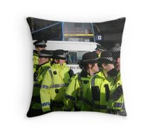cops at anti-fascist march Throw Pillow