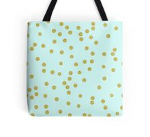 Scattered round gold confetti, pale aqua background Tote Bag