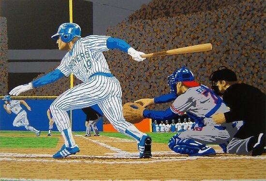 Sports Art - Baseball Art & Paintings - Brewers: Hit and Run 27 x 19 Serigraph by esportsart