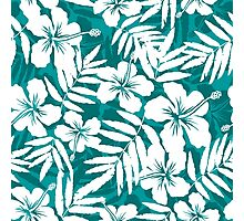 Tropical flowers blue and white pattern Photographic Print
