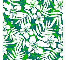 Tropical flowers green and white pattern Photographic Print