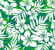 Tropical flowers green and white pattern by 1enchik