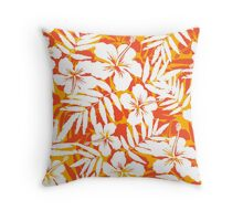 Orange and white tropical flowers silhouettes pattern Throw Pillow
