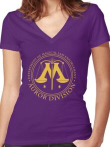 AUROR DIVISION Seal - gold - (Harry Potter) Women's Fitted V-Neck T-Shirt