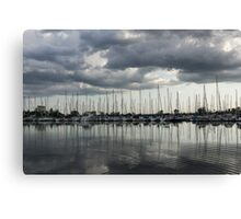 Yachts and Sailboats - the Silvery Calmness of Grays Canvas Print