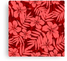 Red tropical flowers silhouettes pattern Canvas Print