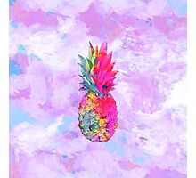 Bright Neon Hawaiian Pineapple Tropical Photographic Print