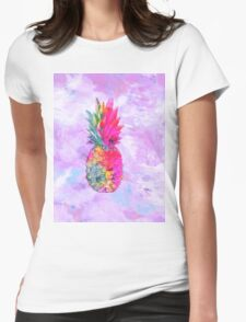 Bright Neon Hawaiian Pineapple Tropical Womens Fitted T-Shirt