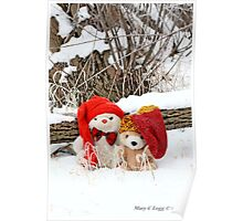 Two  Teddy Bear Friends in snow Poster