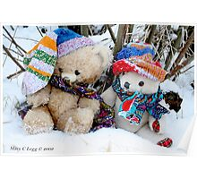Vintage  and Erasmus Bear sit in the snow under the willows Poster