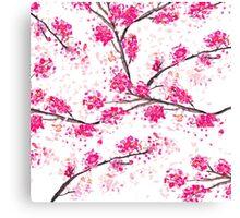 Pink cherry blossoms Oriental Sakura watercolor  Canvas Print