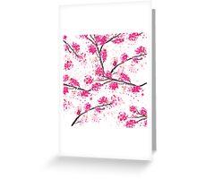 Pink cherry blossoms Oriental Sakura watercolor  Greeting Card