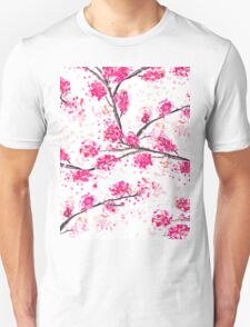 Pink cherry blossoms Oriental Sakura watercolor  Unisex T-Shirt