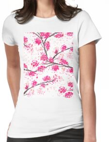 Pink cherry blossoms Oriental Sakura watercolor  Womens Fitted T-Shirt
