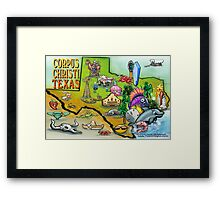 Corpus Christi Texas Cartoon Map Framed Print