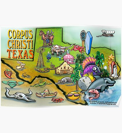 Corpus Christi Texas Cartoon Map Poster