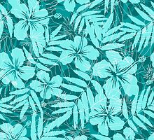Blue tropical flowers silhouettes pattern by 1enchik
