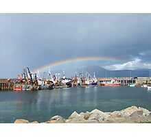 Rainbow over Carradale Harbour, Isle of Arran behind. Photographic Print