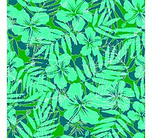 Green tropical flowers silhouettes pattern Photographic Print
