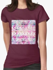Modern aztec pattern watercolor floral nebula Womens Fitted T-Shirt