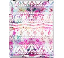 Modern aztec pattern watercolor floral nebula iPad Case/Skin