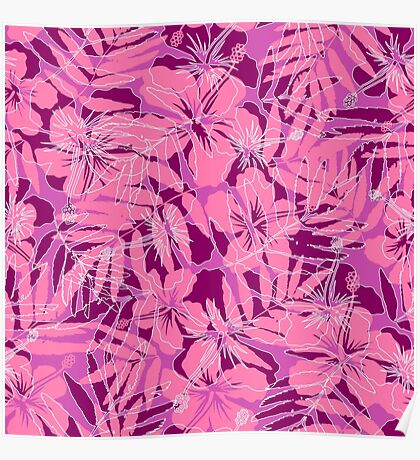 Pink tropical flowers silhouettes pattern Poster