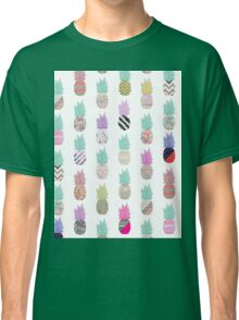 Girly Exotic Pineapple Aztec Floral Pattern Classic T-Shirt