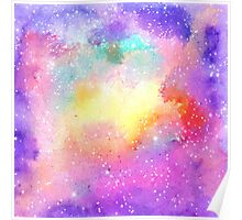 Hand painted pastel watercolor nebula galaxy stars Poster