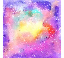 Hand painted pastel watercolor nebula galaxy stars Photographic Print