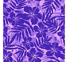 Purple tropical flowers silhouettes pattern Photographic Print